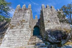 Castle Keep entrance where the first king of Portugal imprisoned his mother Stock Photos