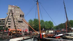 Traditional sailing vessels historic harbor + pan cube houses ROTTERDAM Stock Footage