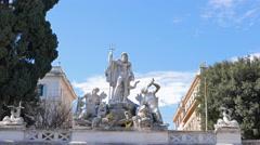 Fontana del Nettuno. Piazza del Popolo. Zoom. Rome, Italy. 4K Stock Footage