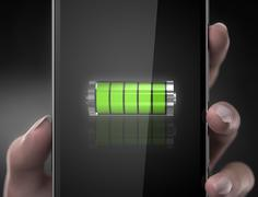 Cell phone battery concept - stock illustration