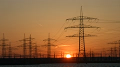 4K Timelapse Sunset with Electricity Power Poles - stock footage