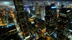 4K Time Lapse of Downtown LA Power Shut Off at Earth Hour 2015 -Pan Right- Stock Footage
