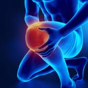 Male knee injured and sprained - stock illustration