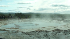 Strokkur Geyser Bubbles and Steams in ICELAND Stock Footage
