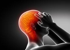 Man migraine headache concept on black Stock Illustration