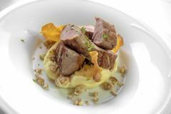 Pork tenderloin served with mashed potatoes,flavored with edible chestnuts an Stock Photos