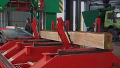 Sawmill machine cutting wood Stock Footage