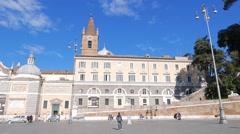 Panorama Piazza del Popolo. Fontana del Nettuno. Rome, Italy Stock Footage