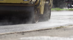 Road Under Construction With Steamroller - stock footage