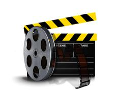 Film reel roll with clapperboard Stock Illustration