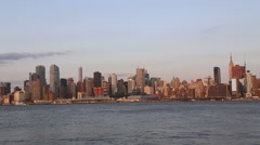 Sunset on NY from Edgewater luxury residentials Stock Footage