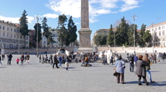 Egyptian obelisk on Piazza del Popolo. Rome, Italy. 4K - stock footage