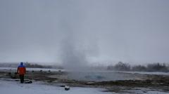 Slowmotion Geyser Strokkur Eruption Iceland Stock Footage