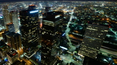 4K Time Lapse of Downtown LA Power Shut Off at Earth Hour 2015 -Pan Left- Stock Footage