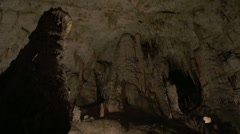 Beautiful Stalagmites And Stalactites Inside Karst Cave Stock Footage