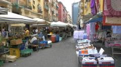 People shopping street vendors Naples, Italy - 4K UHD 0209 Stock Footage