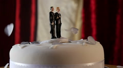 Confetti falls in slow mo on same sex wedding cake Stock Footage