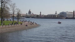 Scenic summer panorama of the Old Town architecture, view from Neva river in St Stock Footage