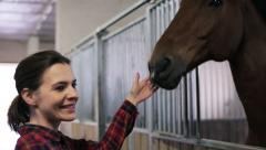 Young, pretty woman stroking a horse in the stable HD Stock Footage