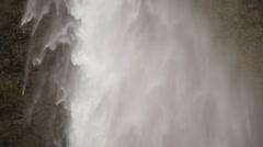 Slowmotion Seljalandsfoss waterfall close up Stock Footage