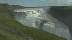 Drop off of GULFOSS WATERFALL,  ICELAND Stock Footage