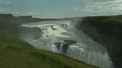 Wide View of GULFOSS WATERFALL in the Summer in ICELAND Stock Footage