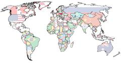 poland territory on world map - stock illustration
