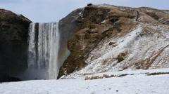 Skogafoss waterfall in winter Stock Footage