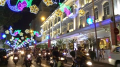 Traffic in night Hochiminh City Stock Footage