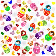 Cute white background with matryoshka dolls, butterflies and hearts - stock illustration