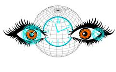 The human eye, clock and globe, look over time, the concept of Stock Illustration