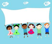 Illustration of children of different races behind a banner on a blue backgro - stock illustration