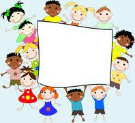 Illustration of children of different races behind a banner on a blue backgro Stock Illustration