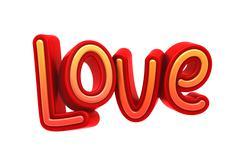Love Text, 3D Illustration of High Resolution Rendering Stock Illustration