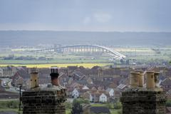 Kingsferry Bridge and new Sheppey Crossing - stock photo