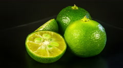 Close up rotation heap of the green limes 4K Stock Footage