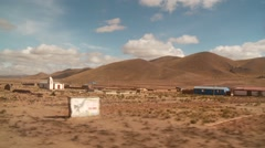 Driving through Landscape in Andes, Altiplano, Bolivia - stock footage