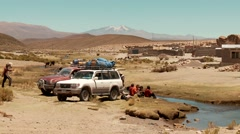 Pausing a Offroad Trip in Bolivia Stock Footage