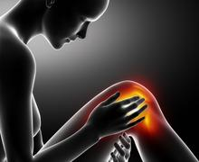 Female knee injured and sprained - stock illustration