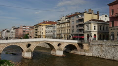 Latin Bridge in Sarajevo Stock Footage