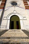 italy  lombardy      the varano borghi     church  closed brick - stock photo