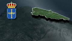 Stock Video Footage of Asturias with Coat of arms animation map