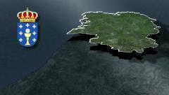 Galicia with Coat of arms animation map Stock Footage