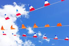 Orange flags, celebrating kings day in the Netherlands - stock photo