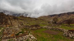 hd1-1, North Ossetia, the formation of clouds in the ancient settlement - stock footage