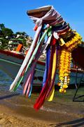 Asia in the  kho tao bay isle white  house boat Stock Photos