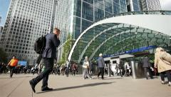 Commuters at Canary Wharf underground station, London Stock Footage
