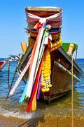boat prow asia in the  bay  kho tao isle white - stock photo