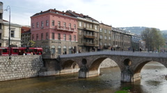 Latin Bridge in Sarajevo Stock Footage