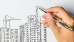 Multi-storey building being built from sketch in pencil Stock Footage